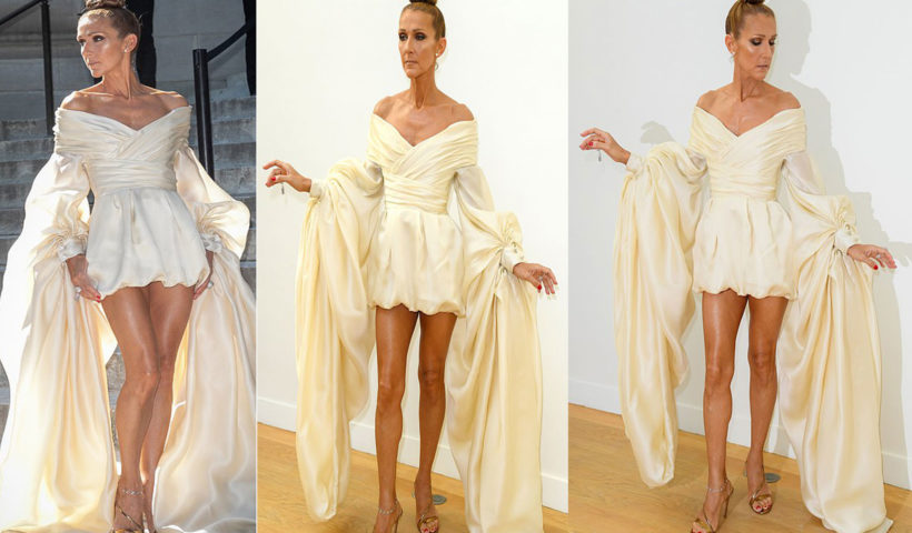 Céline Dion Killed It In Short Bridal Satin Gown At Alexandre Vauthier Paris Fashion show