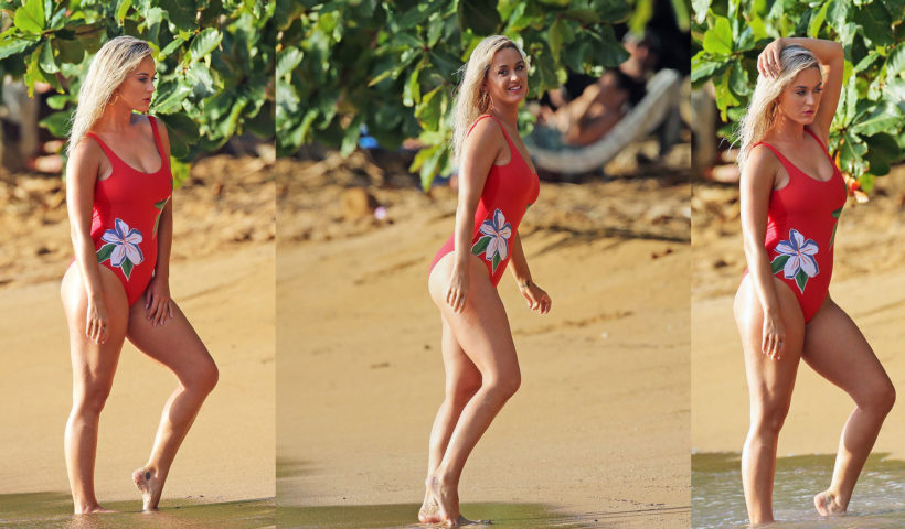 Katy Perry flaunts her incredible sexy figure in a fiery red swimsuit to shoot new music video on the beach in Hawaii